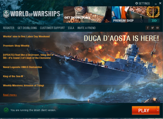 World of Warships Launcher when finished downloading