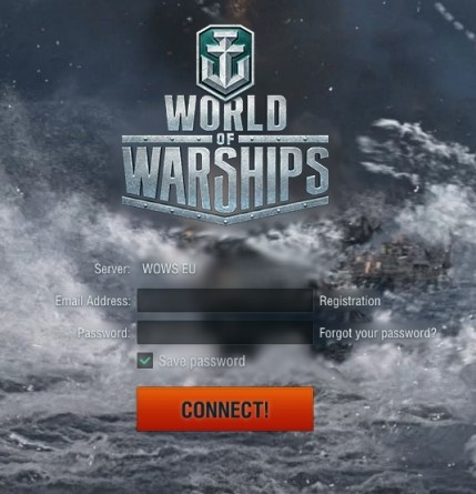 The login screen for World f Warships