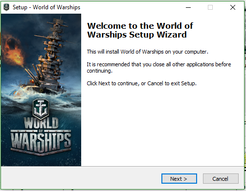 The setup wizard for World of Warships
